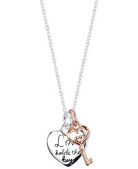 Unwritten Two Tone Love Holds The Key Charm Necklace In Sterling Silver Two Tone