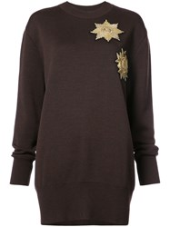 Vera Wang Metallic Patches Loose Fit Jumper Wool Nylon Spandex Elastane Brown