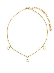 Argentovivo 18K Yellow Gold Plated Disc Choker Necklace