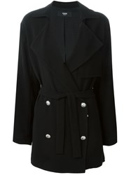 Versus Belted Double Breasted Coat Black