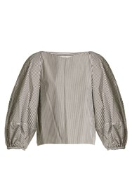 Tibi Puff Sleeved Striped Cotton Cropped Top Black White