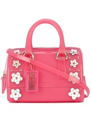 Furla Floral Embroidered Tote Women Leather Pvc Metal One Size Pink Purple