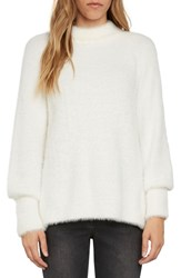 Willow And Clay Women's Fuzzy Mock Neck Sweater Vellum