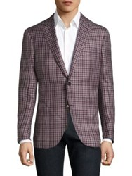 Luciano Barbera Mini Checkered Wool Silk And Linen Blazer Pink