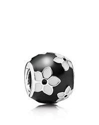 Pandora Design Pandora Charm Sterling Silver And Enamel Mystic Flower Moments Collection Black White Silver