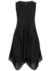 High Black Ruched Jersey Dress
