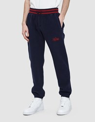 Aime Leon Dore Reverse Fleece Pants In Navy Natural And Midni