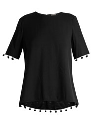 Adam By Adam Lippes Pompom Trimmed Crepe Top Black