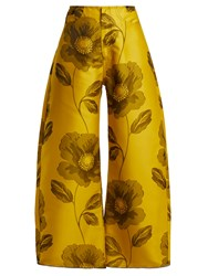Marques Almeida Floral Jacquard Wide Leg Trousers Yellow Print