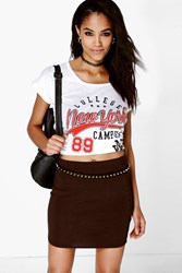 Boohoo Bodycon Mini Skirt Brown