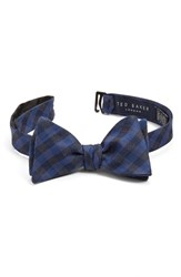 Ted Baker Men's London Plaid Silk And Wool Bow Tie Navy