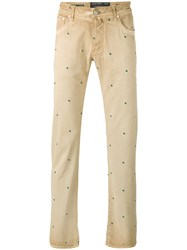 Jacob Cohen Embroidered Regular Jeans Men Cotton Polyester Spandex Elastane 36 Nude Neutrals