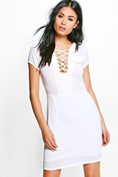 Boohoo Lace Up Front Shift Dress White