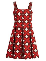 Valentino Cuban Flower Print Pleated Mini Dress Red Multi
