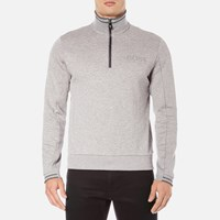 Hugo Boss Green Men's Quarter Zip Sweatshirt Grey