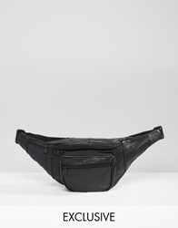 Reclaimed Vintage Leather Bum Bag Black Black