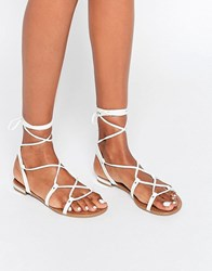 Call It Spring Cargalla Flat Lace Up Crossover Sandal White