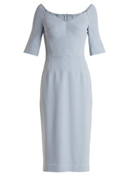 Dolce And Gabbana Structured Stretch Crepe Midi Dress Light Blue