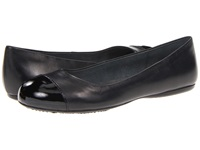 Softwalk Napa Black Soft Dull Leather Patent Man Made Women's Flat Shoes