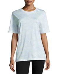 Jason Wu Short Sleeve Abstract Striped T Shirt Plexi Light Celadon Women's