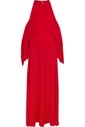 Rosetta Getty Cold Shoulder Draped Silk Georgette Gown Red
