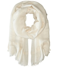 Love Quotes Linen Lurex Eyelash Scarf Souffle Scarves White