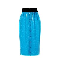 N 21 Coated Lace Pencil Skirt Blue