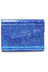Jimmy Choo Candy Suede Trimmed Glittered Acrylic Clutch Bright Blue