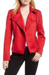 Kut From The Kloth Haddie Faux Suede Moto Jacket Red