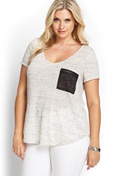 Forever 21 Marled Zipper Pocket Tee Grey Charcoal