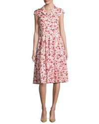 Lela Rose Poppy Print Cap Sleeve Shirtdress Red