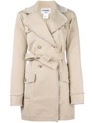 Chanel Vintage Frayed Edge Trenchcoat Nude Neutrals