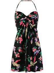 Chanel Vintage Halterneck Floral Dress Black