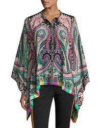 Etro Psychedelic Paisley Silk Blouse Multicolor Multi Pattern