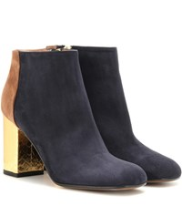 Marni Suede And Leather Ankle Boots Blue