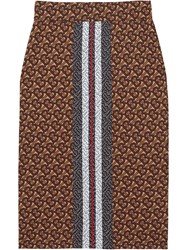 Burberry Monogram Stripe Print Stretch Jersey Pencil Skirt Brown