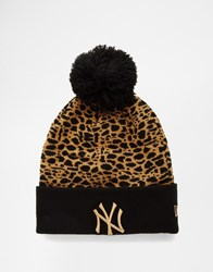 New Era Boston Leopard Bobble Hat Black