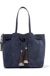 Loeffler Randall Horse Hair Trimmed Suede Tote Midnight Blue