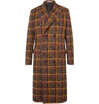 Bottega Veneta Double Breasted Checked Wool Blend Coat Brown