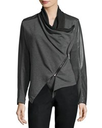 Philosophy Drape Front Faux Leather Trim Jacket Grey