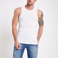 River Island White Muscle Fit Vest Top