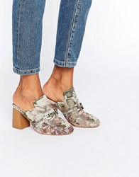 Asos Oma Loafer Heeled Mules Tapestry Multi