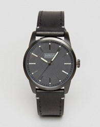 Barbour Jarrow Leather Watch In Black Black