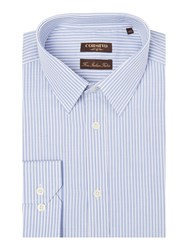 Corsivo Eros End On End Stripe Cotton Shirt Blue