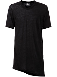 Lost And Found Sheer Oversized Asymmetrical T Shirt Black