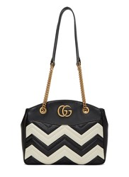 Gucci Marmont Monochrome Zigzag Quilted Handbag Black