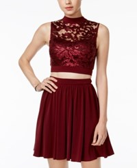 Speechless Juniors' 2 Pc. Sequined Mesh Fit And Flare Dress Wine