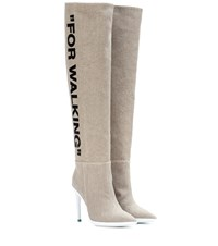Off White For Walking Over The Knee Boots Beige