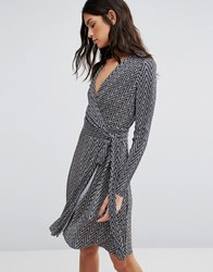 Liquorish Long Sleeve Zig Zag Wrap Pencil Dress Grey