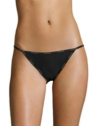 Calvin Klein Brand Embelllished Trimmed String Bikini Panties Black